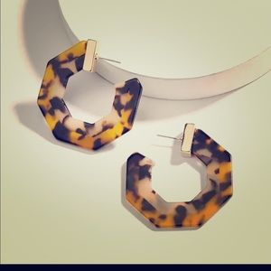 Tortoise hexagon hoop earrings